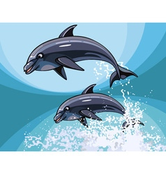 Two cartoon dolphins happily jumping in splashes vector