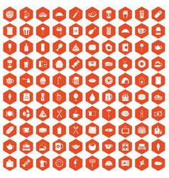 100 cafe icons hexagon orange vector