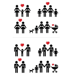 Gay lesbian couples and family with children icon vector