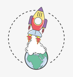 Rocket leaving the earth planet to go to space vector