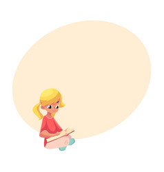 little blond girl with ponytails reading book vector image