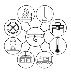 sketch contour icons plumbing connected to center vector image