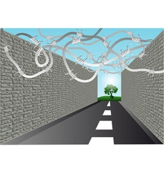 Street with barbed wire vector