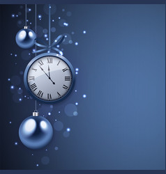 2017 new year background with clock and blue balls vector image