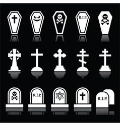 Halloween graveyard icons set - coffin cross vector