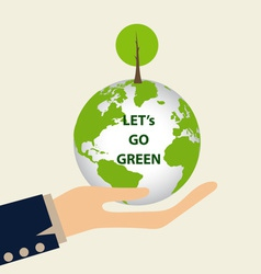 Green Eco Earth Hand holding Green earth with tree vector image