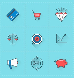 Business icons icon set in flat design style for vector