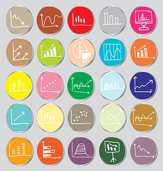 Draw flat color style business graph icon set vector