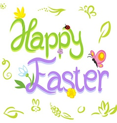 Happy easter calligraphy text with spring design vector