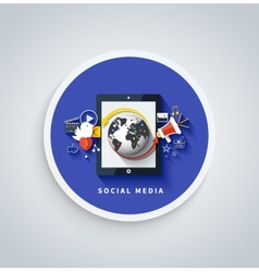 Social media concept cloud of application icons vector