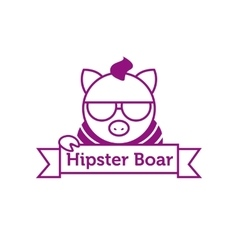 Hipster boar in sunglasses outline logotype vector