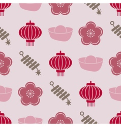 Seamless background with chinese new year icons vector