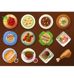 Collection of traditional dishes vector