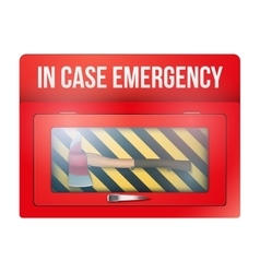 Red box with axe in case of emergency vector