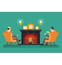 Gentlemen at fireplace tea drink evening vector