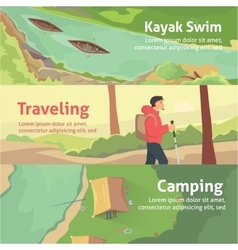 Colourful camping flat banner set for your vector