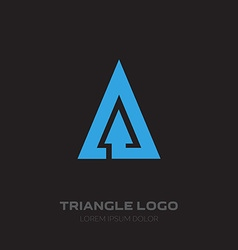 Triangular business logo with arrow design element vector