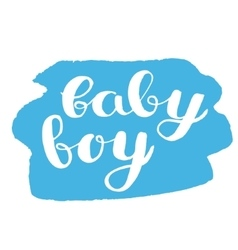 Baby boy brush hand lettering vector