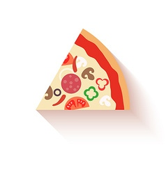 Flat design pizza slice icons isolated on white vector