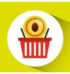 Basket market sweet peach icon design vector