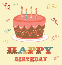 Birthday card with cake vector image vector image