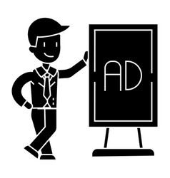 Businessman leaning man stand icon vector