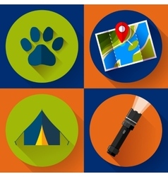 Camping hiking icons set flat design style vector