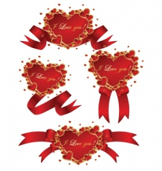 collection of vector red hearts vector image vector image