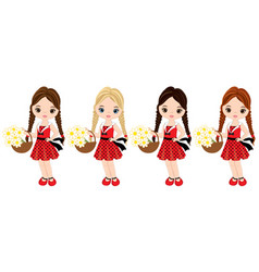 Cute little girls with flowers vector