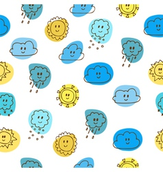 Cute seamless pattern with sun and clouds vector