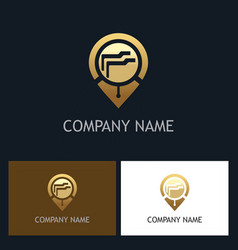 Document data gps gold technology logo vector