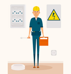 Electrician cartoon character electric vector