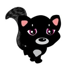 Emoji character cartoon black cat sad and vector