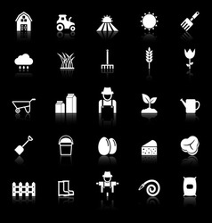 Farming icons with reflect on black background vector image vector image