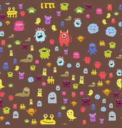 Funny cartoon monster seamless pattern alien vector