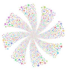 Gear fireworks swirl flower vector