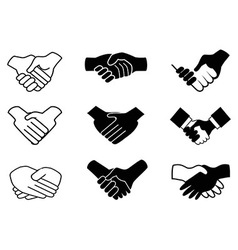 handshake icons vector image vector image