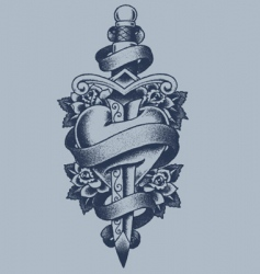 heart and dagger tattoo vector image vector image