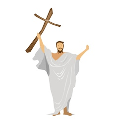 Jesus Christ Praying with A Wooden Cross vector image vector image