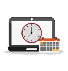 Laptop clock calendar and worktime design vector