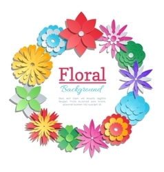 Origami flowers invitation card paper cut vector