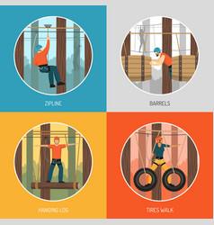 Rope walk park activities concept vector