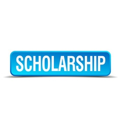Scholarship blue 3d realistic square isolated vector
