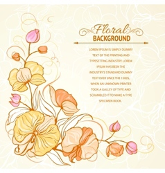 Sepia grunge background with orchid imprint vector