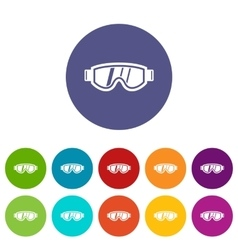 Skiing mask set icons vector image