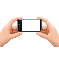 Two hands holding mobile smart phone vector image