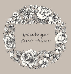 Vintage flower frame space for text retro floral vector