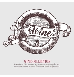 Wine or beer barrel with ribbon banner vector image vector image
