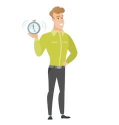 Caucasian business man holding alarm clock vector