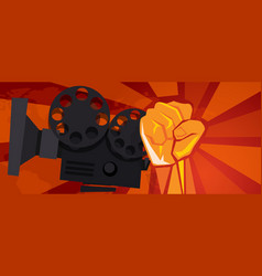 Movie cinema entertainment rebel political hand vector